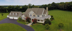 Aerial photograph of our custom addition work to this beautiful home in Kent County, MD